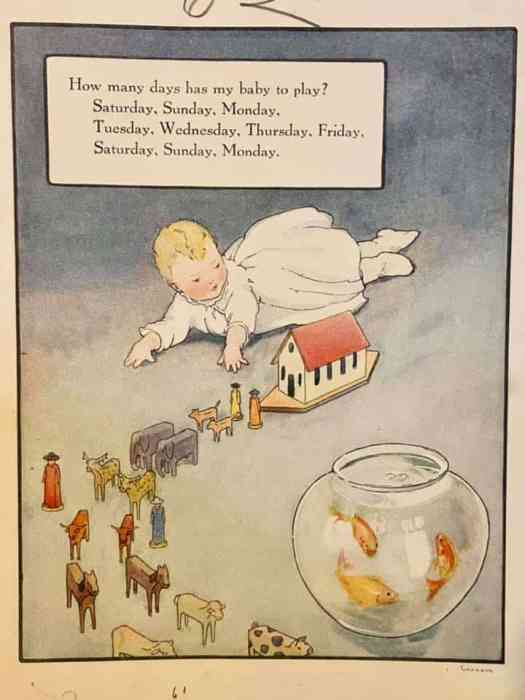 Mother Goose book, published in 1915 with illustrations by Frederick Richardson How many days has my baby to play goldfish bowl
