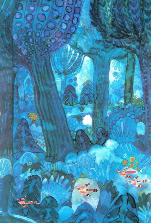 Štěpán Zavřel (1932 - 1999) 1977 illustration for his own children's book 'The Last Tree'