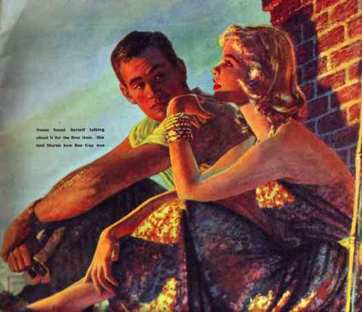 Susan found herself talking about it for the first time, Illustration by Edwin George in 'English Woman' 12 July 1958