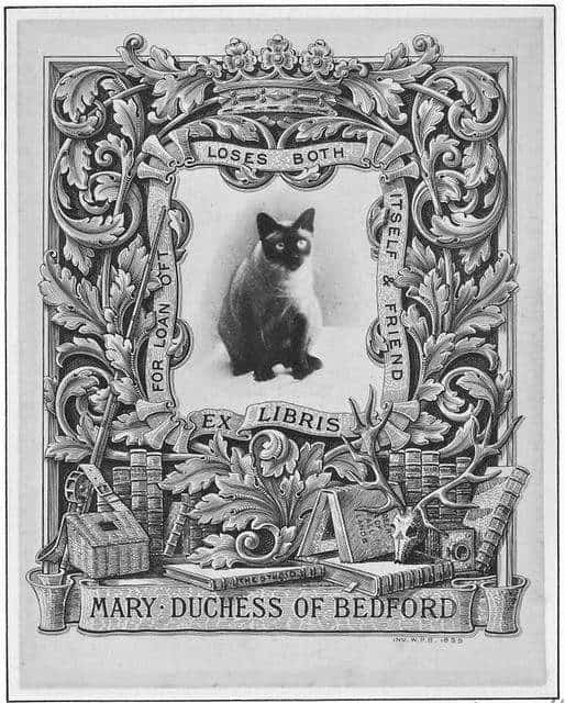 Bookplate of Mary Duchess of Bedford, in the collection of Daniel Fearing. Designed by W.P. Barret in 1899