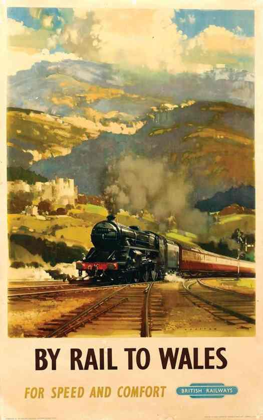 By Rail To Wales - British Railways Travel Poster illustration by Frank Wootton