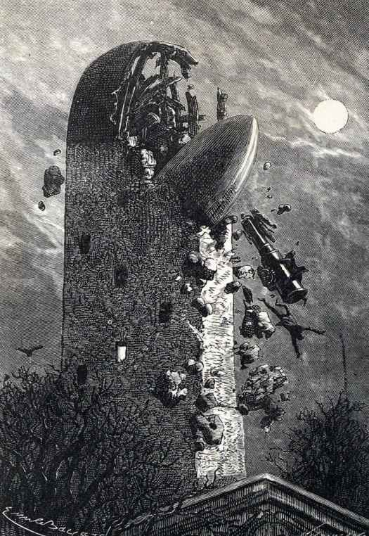 A Rocket pokes out of a tower after a crash