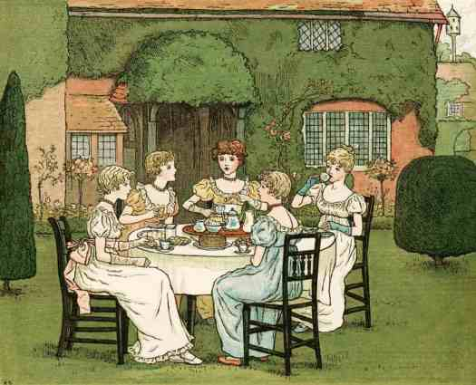 Kate Greenaway [1846-1901] THE TEA PARTY from Marigold Garden c1892