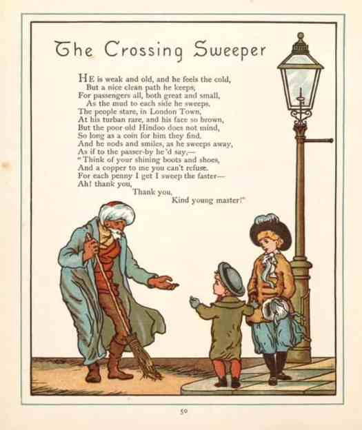Walter Crane 1845 - 1915 London Town The Crossing Sweeper 1883
