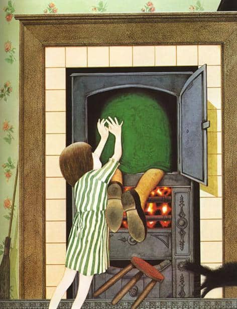 Anthony Browne Hansel and Gretel pushing witch into oven