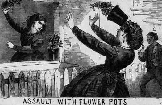 Assault With Flower Pots, Illustrated Police News, Saturday 11 November 1871