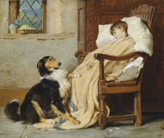 Briton Rivière (1840-1920) British convalescing