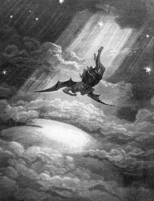 Gustave Doré (1832 - 1883) 1866 'Satan Falls' illustration for 'Paradise Lost' by John Milton