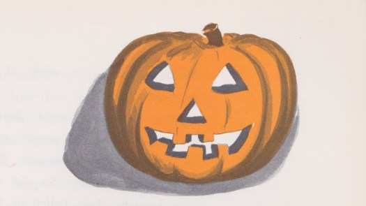 Halloween A Holiday Book by Lillie Patterson, illustrated by Gil Miret (1963) pumpkin carved