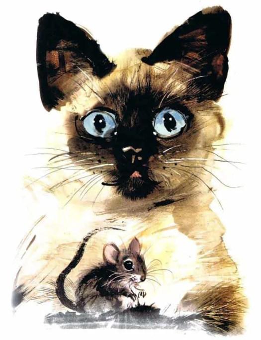 Janusz Grabianski Siamese Cat (and mouse)