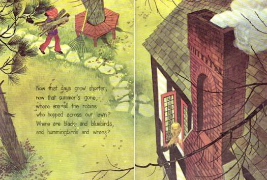 Now That Days Are Colder by Aileen Fisher, Designed & Illustrated by Gordon Laite, Lettering by Paul Taylor (1973) high angle house chimney