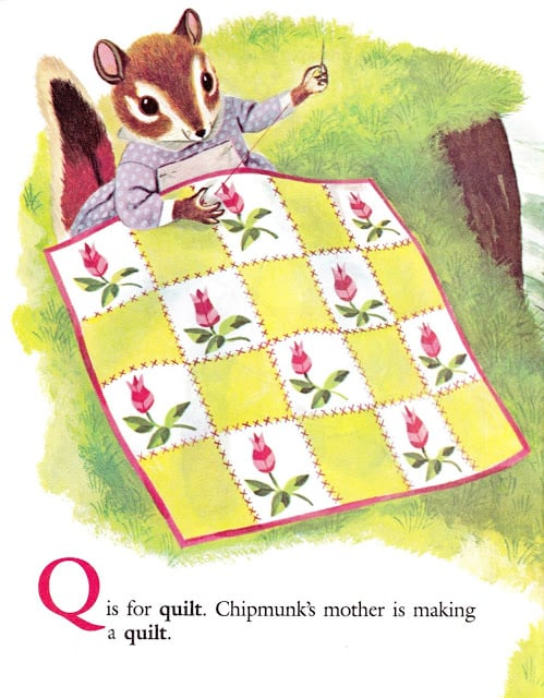 Richard Scarry's Chipmunk's ABC by Roberta Miller, illustrated by Richard Scarry (1963) sewing