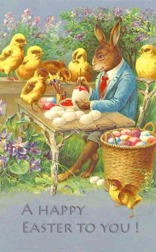 Vintage Easter card featuring Mr. Bunny painting eggs