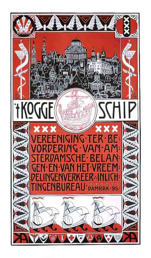1903 t Koggeschip, Dutch poster, Secessionist style