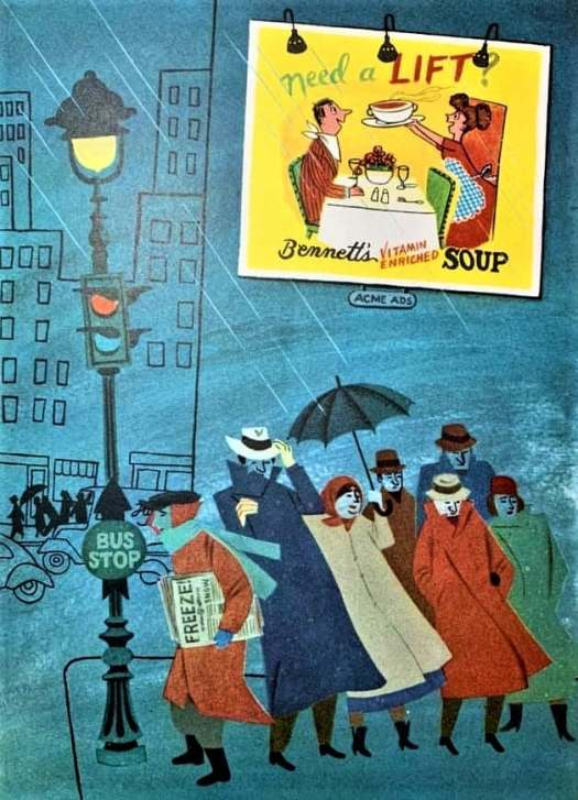 A group of cold people huddle together near a bus stop, hit by wind and rain. An inset illustration shows a wife serving hot soup to a man already returned from work.