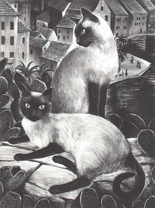 Agnes Tait (American, 1894-1981), Sailor Cats, 1941