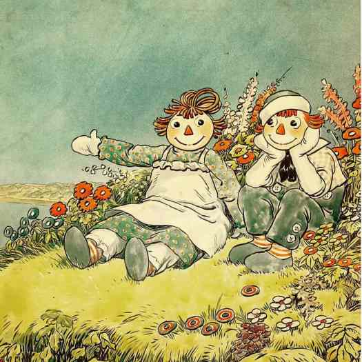 Endpage illustration for Raggedy Ann and Andy by Indianapolis artist and author Johnny Gruelle, 1929