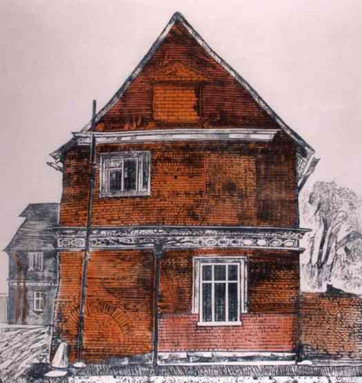 'Great Lodge, Great Bardfield', Sheila Robinson, print from a cardboard cut, 1967