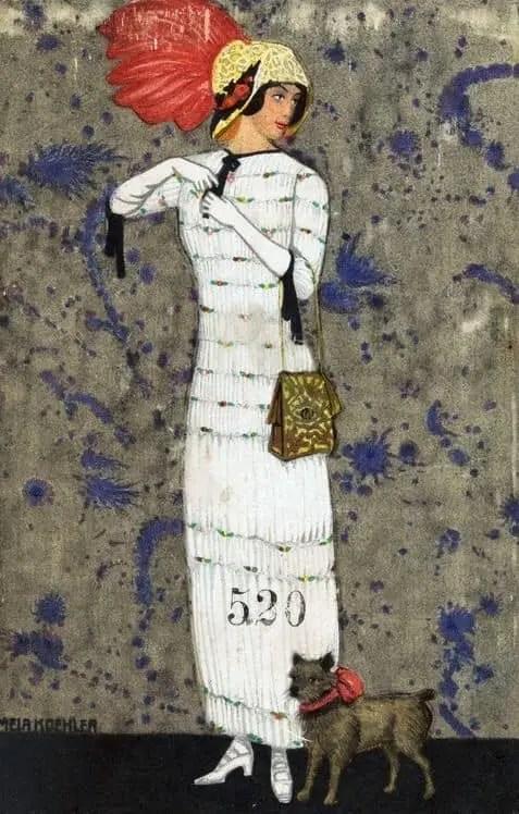 Mela Köhler, fashion illustration for Viennese workshop postcards, 1910-14
