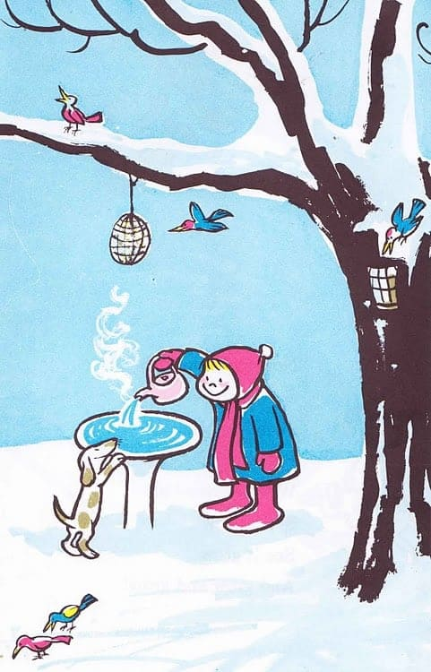 A girl pours a kettle of steaming water into a bird bath for the birds on a snowy day. A dog watches on.