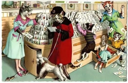 Postcard c. 1950s for Mainzer cats illustrator Eugen Hartung 1897-1973