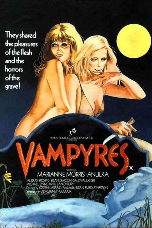Vampyres movie poster from the 1970s. These films weren't made for a gender and romantically diverse viewer.