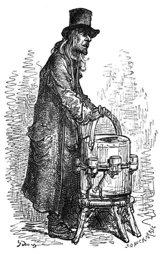 Victorian-Era lemonade vendor on the streets of London -- 1872. Illustration by Gustave Doré (1832-1883)