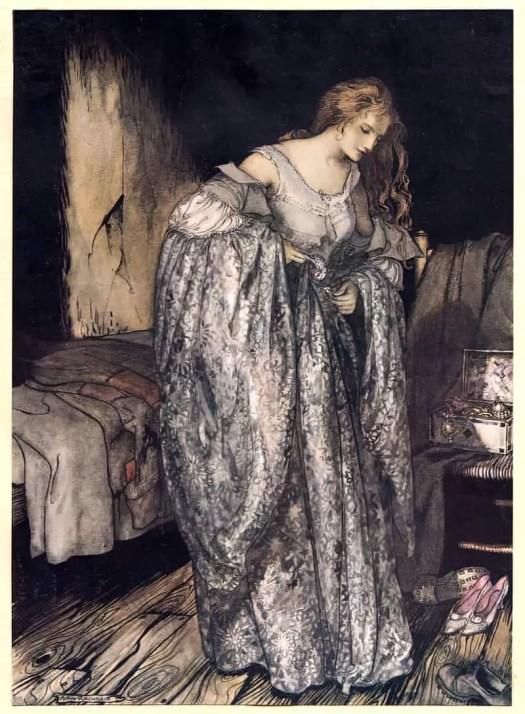 Arthur Rackham for the Grimm story 'The True Sweetheart' 1917