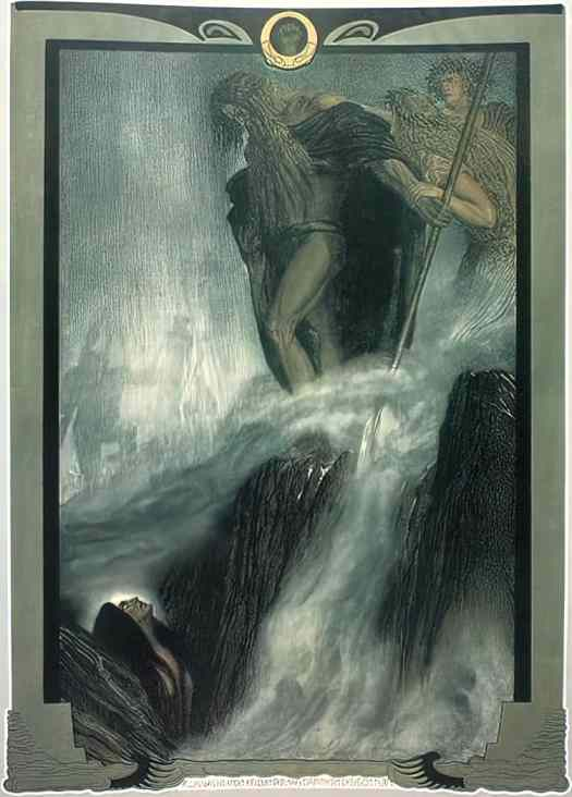 Franz Stassen made four portfolios of illustrations for Wagner's Ring operas waterfall