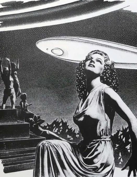 Virgil Finlay (1914-1971) 1951 illustration for 'The Wanderer's Return' by Fletcher Pratt