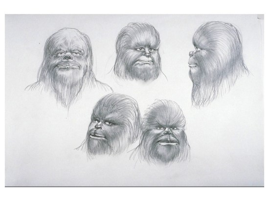 sketch by Ralph McQuarrie which was used by Star Wars make-up supervisor Stuart Freeborn to create Chewbacca's mask