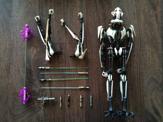 Sideshow Star Wars General Grievous Sixth Scale Figure unboxed accessories