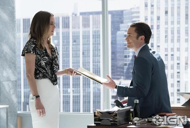 Iron Fist - Jessica Stroup as Joy Meachum and Tom Pelphrey as Ward Meachum
