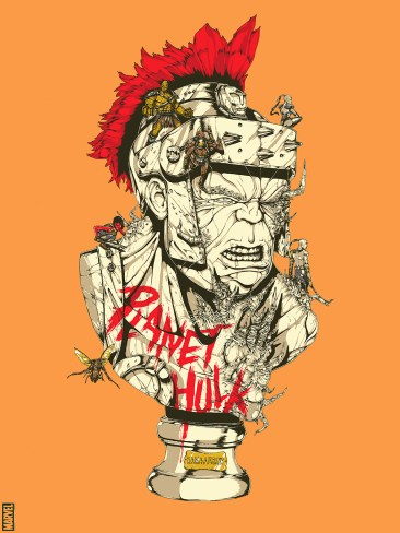 """Planet Hulk (Variant) by Boneface 18"""" x 24"""" screen print. Edition of 100."""