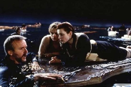 James Cameron, Leonardo DiCaprio and Kate Winslet on the set of Titanic.