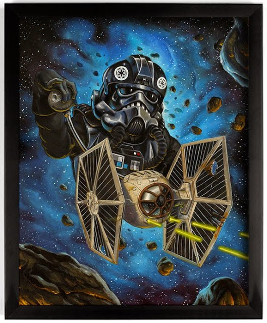 """""""Chasing the Falcon"""" - Star Wars inspired print by Johnny Crap"""