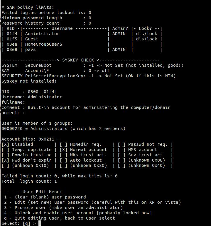 knoppix reset windows xp administrator password