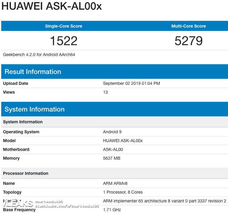 img Honor ASK-AL00x 6GB de RAM, Android 9 Geekbench