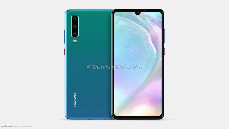 img Huawei P30 é renderizado por Onleaks