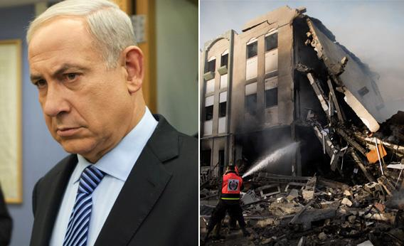 Israeli Prime Minister Benjamin Netanyahu and damage in Gaza city following an Israeli air raid.
