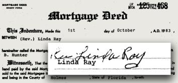 "A Florida mortgage deed for ""Rev. Linda Ray."""