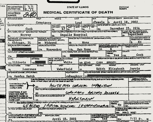 The death certificate for Linda Taylor (aka Constance Loyd).