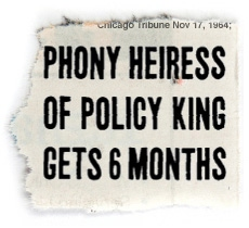 MOCKUP OF TRIBUNE HEADLINE: Phony Heiress