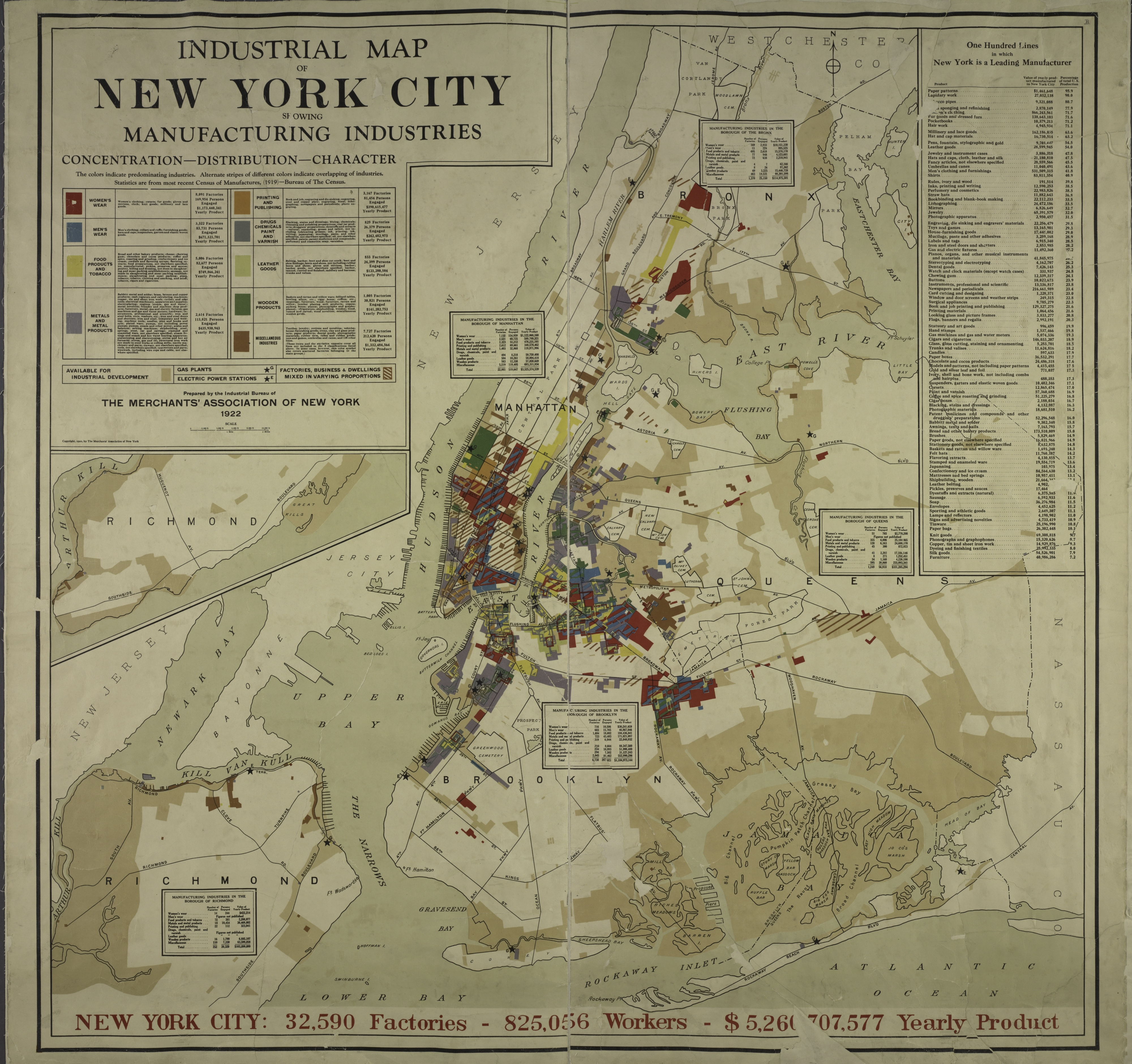 New York City Manufacturing Map Of Past Industry