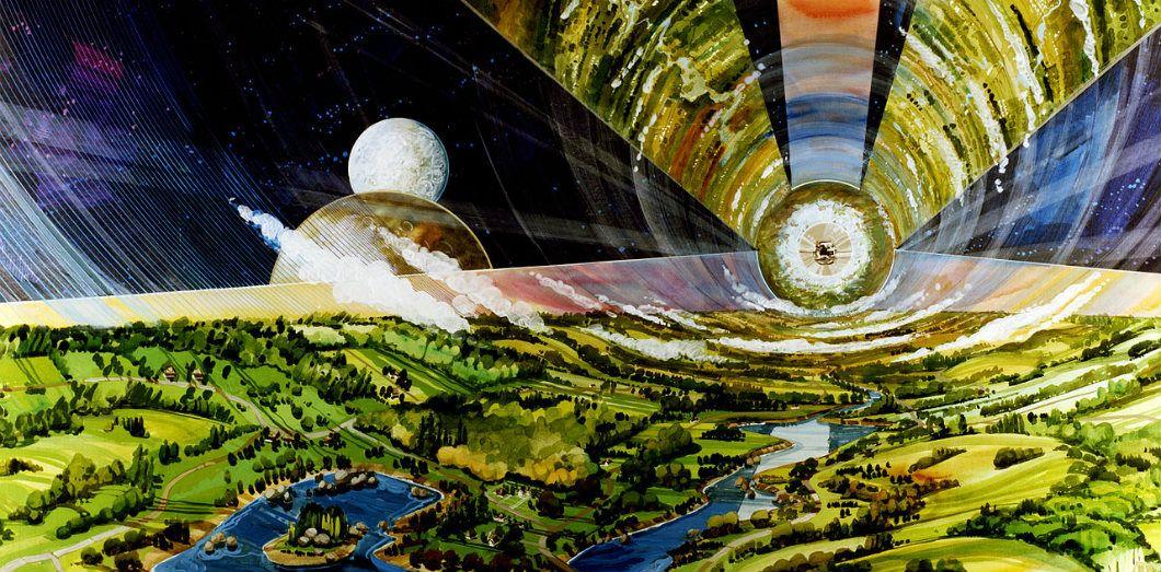 Vue d'artiste de l'intérieur d'un cylindre O'Neill, un projet d'habitat spatial théorique proposé dans les années 1970 | NASA Ames Research Center via Wikimedia Commons License by
