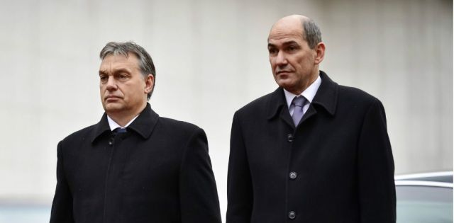 Janez Jansa et Viktor Orbán à Ljubljana (Slovénie), le 26 novembre 2012 | Jure Makovec / AFP