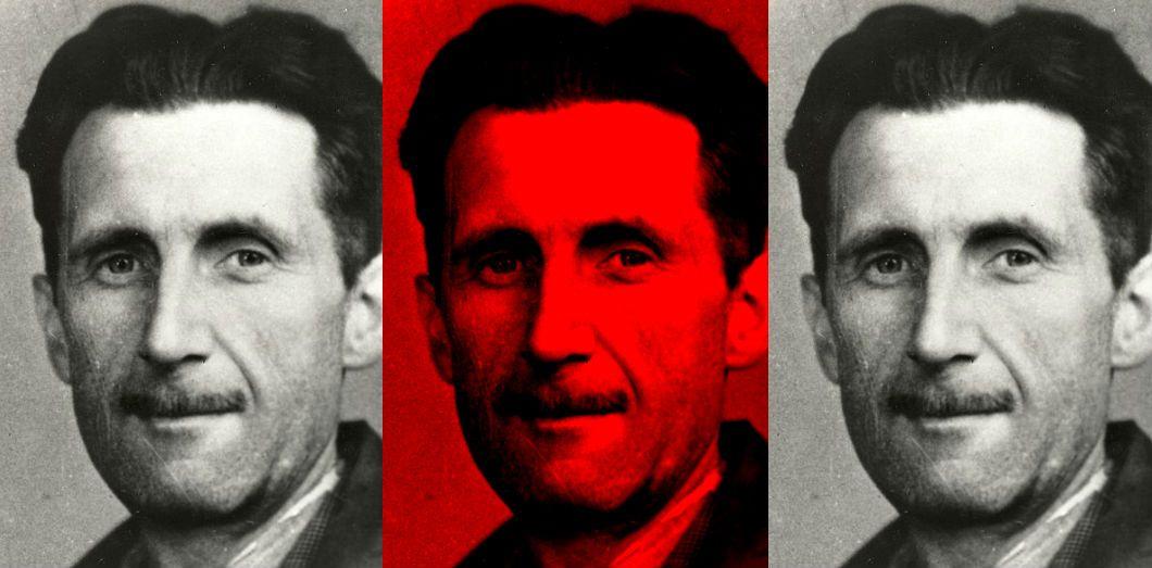 George Orwell, 1943.   Via Wikimedia commons, montage Slate.fr.