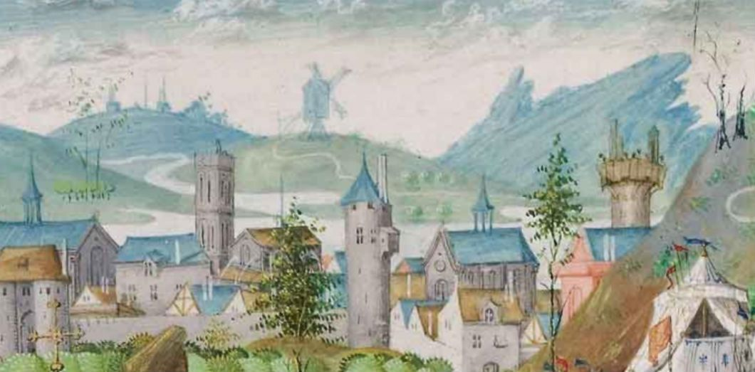 Enluminure extraire de «Voyage en la terre d'Outremer» de Bertrandon de la Broquière. Jean Le Tavernier, enlumineur, Audenarde, après 1455. | Via BNF.