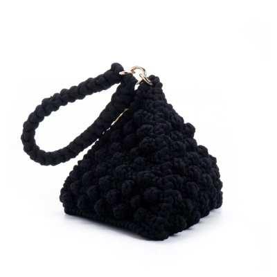 תיק סרוג פירמידה משולש דגם פופקורן שחור || תיק סרוג בעבודת יד