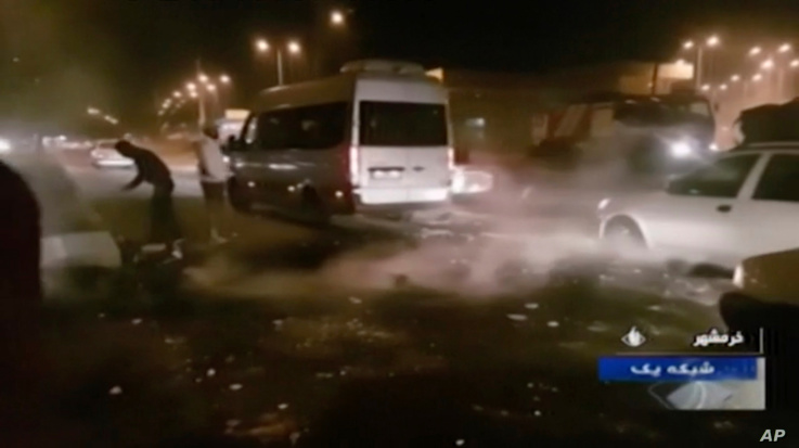 In this Saturday, Nov. 16, 2019 image from video aired by Iran's Islamic Republic of Iran Broadcasting state television channel…